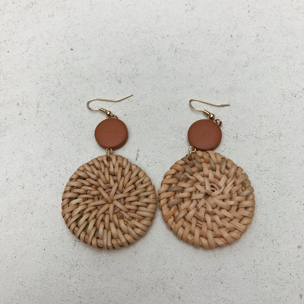 Tito Wood/Woven Earrings