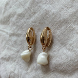 Pearl Gold Cowry Shell Earrings
