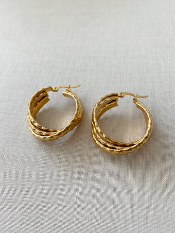 Quinn Textured Twist Hoops