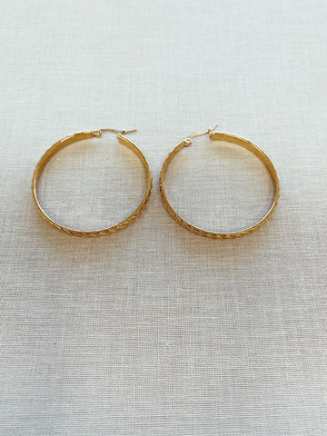 Corey Large Textured Hoops