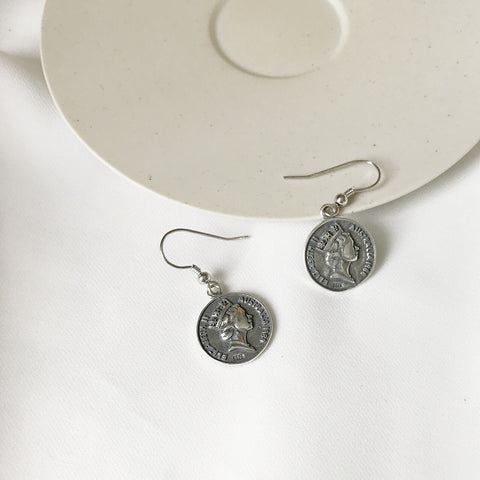 Elizabeth Silver Coin Earrings