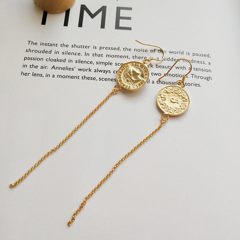 Helvetica Gold Coin Chain Earrings