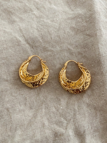 Odessa Textured Hoop Luxe Earrings