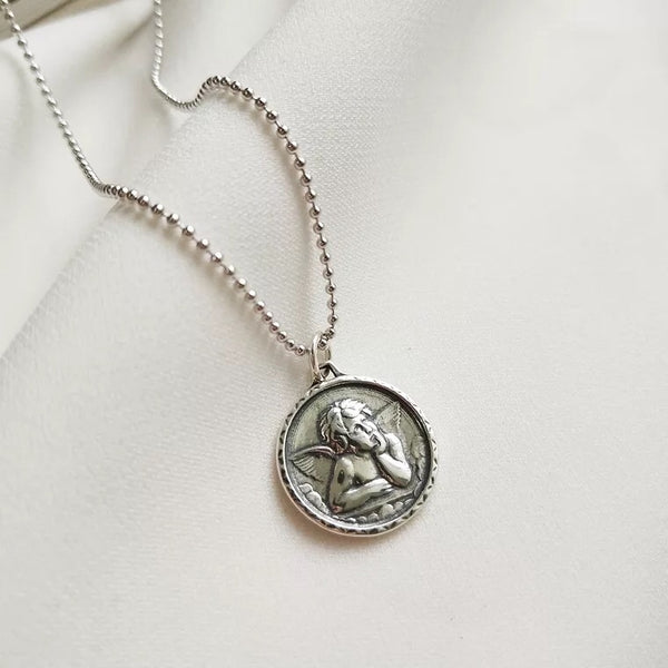 Cupid Silver Coin Necklace