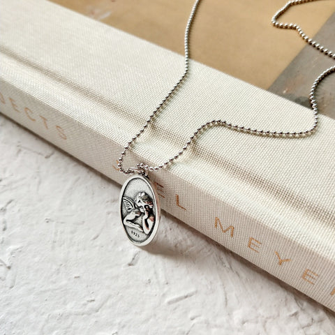 Cupid Oval Silver Coin Necklace - 65cm