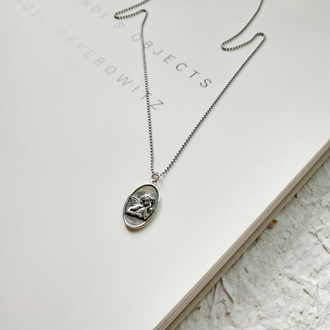 Cupid Oval Silver Coin Necklace - 45cm
