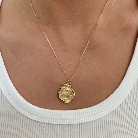 Owl Gold Coin Necklace
