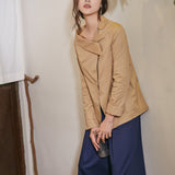 Karla Asymmetrical Collar Shirt - Camel - HELLO PARRY Australian Fashion Label
