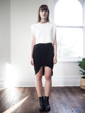 Kava Ruche Split Jersey Skirt-Black - HELLO PARRY Australian Fashion Label