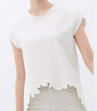 Leyla Asymmetric Hem Top-White - HELLO PARRY Australian Fashion Label