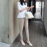 Linda White Knit Peplum Top