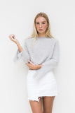 BRENDA FLUFFY CROP JUMPER- LIGHT GREY
