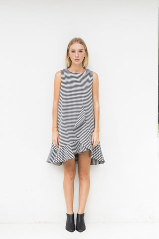 KATE FLUTED PRINT DRESS -DIAMOND CHECK