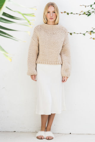 MILA HIGH NECK CHUNKY JUMPER- BEIGE