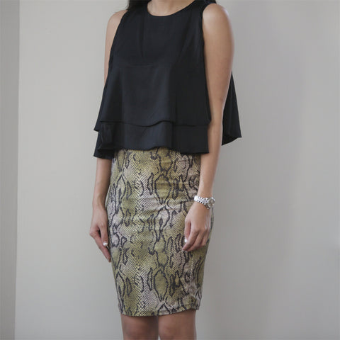 Marilyn Metallic Snake Print Skirt - HELLO PARRY Australian Fashion Label