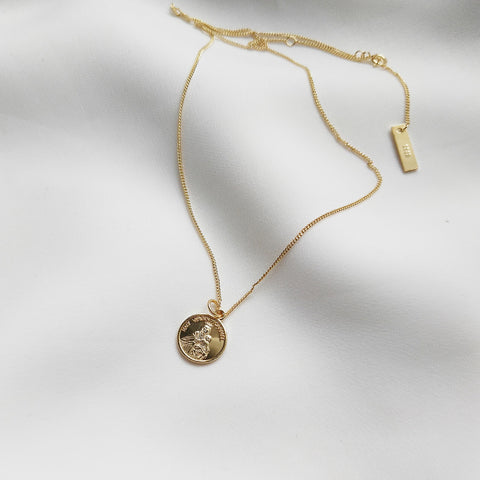 Mary Round Coin Necklace