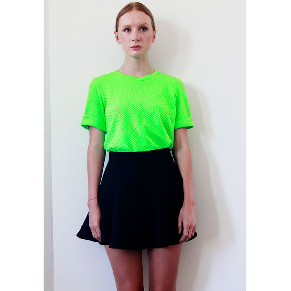 Mindie Fluo Green Textured Tee