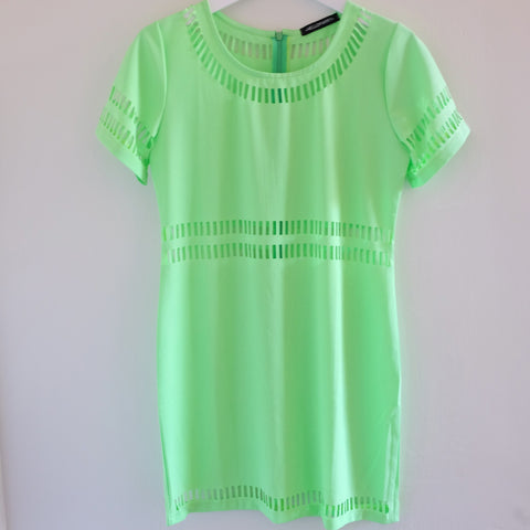 Mischa Cut-out Neon Green Shift Dress - HELLO PARRY Australian Fashion Label