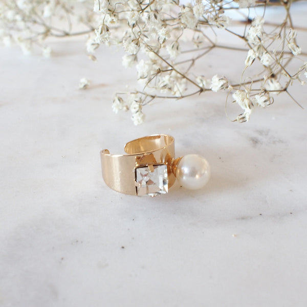 Nicolai Crystal and Pearl Ring - HELLO PARRY Australian Fashion Label