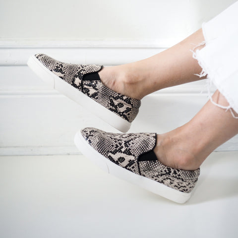 Noah Beige Snake Print Slip On Shoes - HELLO PARRY Australian Fashion Label