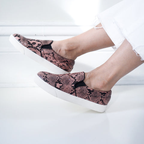 Noah Pink Snake Print Slip On Shoes - HELLO PARRY Australian Fashion Label