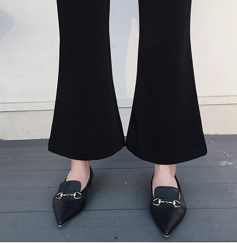 Olinda Black Flared High Waist Trousers