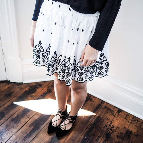 Aida Floral Embroidered Skirt - HELLO PARRY Australian Fashion Label