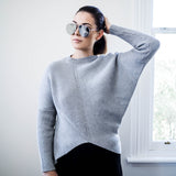 Camille Asymmetric Grey Knit Jumper - HELLO PARRY Australian Fashion Label