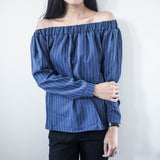 Avalon Pinstripe Off-Shoulder Top - HELLO PARRY Australian Fashion Label