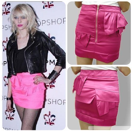 Celeb Style Hot Pink Tier Exposed Zip Satin Skirt - HELLO PARRY Australian Fashion Label