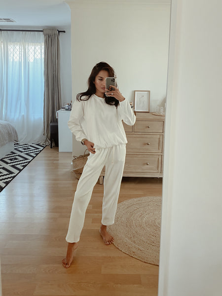 Zaza Ribbed Cotton Lounge Set -White