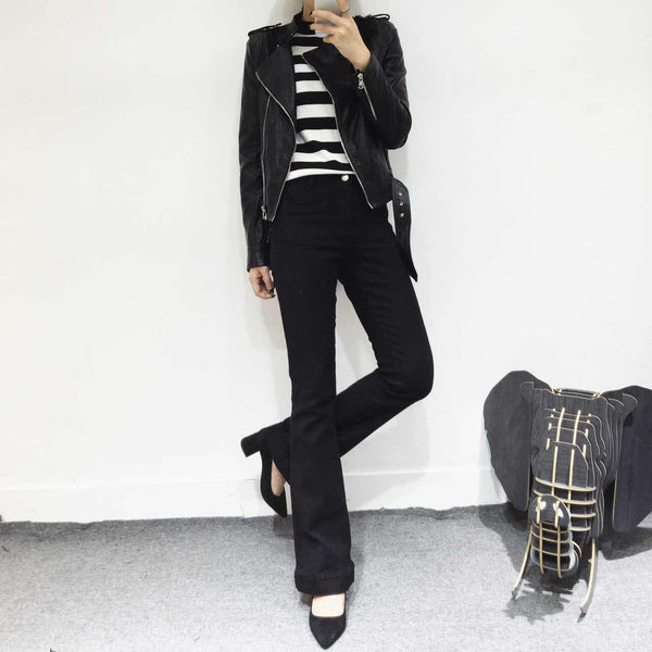 Kelly Black Flared Skinny Jeans - HELLO PARRY Australian Fashion Label