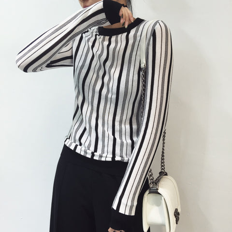 Allegra Combo Stripe Long Sleeve Top - HELLO PARRY Australian Fashion Label