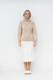 RAYNE HIGH NECK CABLE JUMPER- SAND