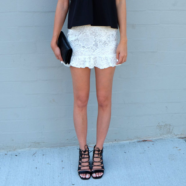 Rashida Lace Flip Mini Skirt