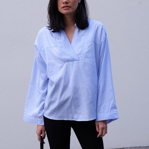 Rene Stripe Bell Sleeve Shirt - BLUE
