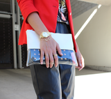 Artsy Colour Block Clear Clutch -White - HELLO PARRY Australian Fashion Label