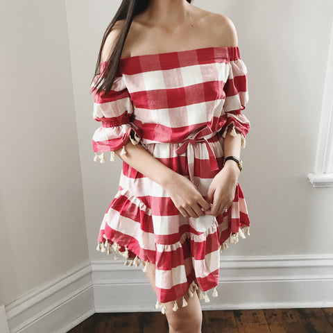 SWEET LULLABY CHECKERED DRESS-RED