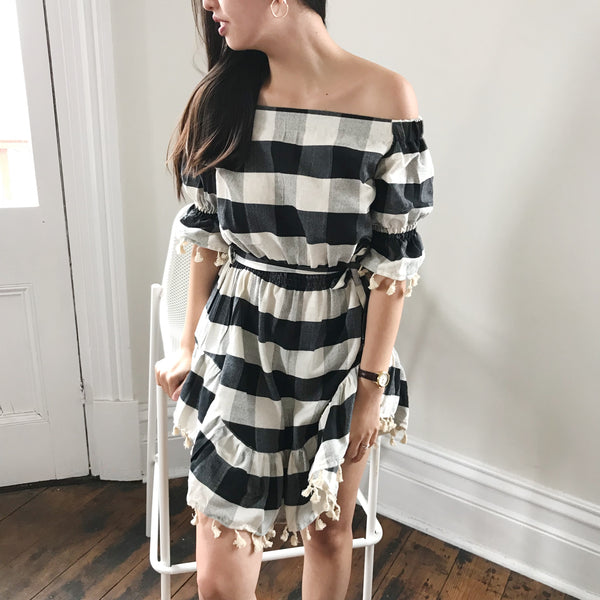 SWEET LULLABY CHECKERED DRESS-BLACK