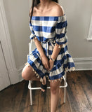 SWEET LULLABY CHECKERED DRESS-BLUE