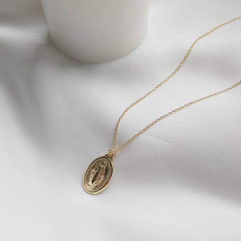 St Mary Oval Coin Necklace