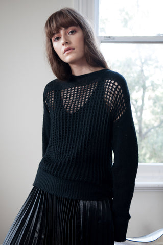 Sawyer Perforated Knit Sweater -Black
