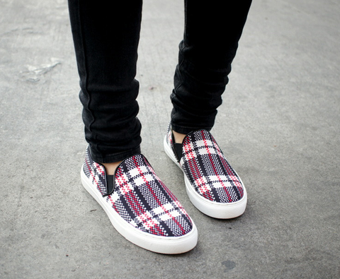 Selina Tartan Print Slip On Shoes