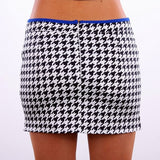Swallow Tailored Houndstooth Wrap Skirt -Black