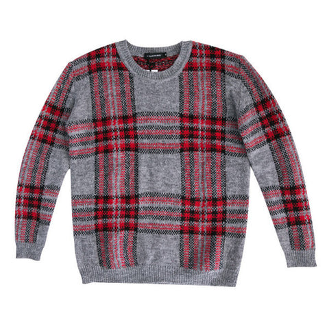 Bayley Plaid Relaxed Knitted Sweater - HELLO PARRY Australian Fashion Label