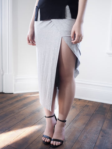 Talia Jersey Maxi Skirt With Thigh Split - GREY - HELLO PARRY Australian Fashion Label