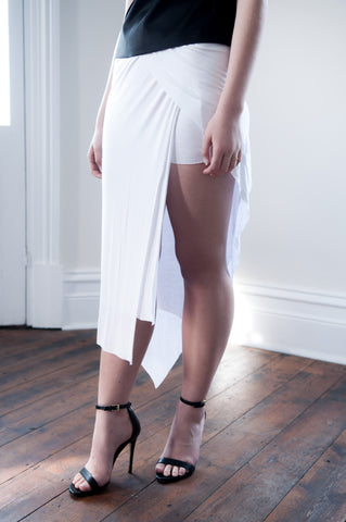 Talia Jersey Maxi Skirt With Thigh Split - WHITE - HELLO PARRY Australian Fashion Label