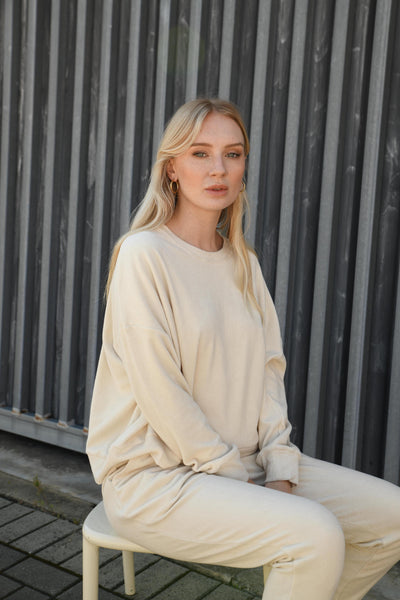 Tatum Terry Towelling Long Sleeve Top -Milk Tea