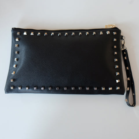 Tino Studded Black Clutch