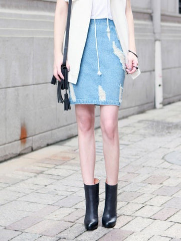 Ultra Distressed Denim skirt